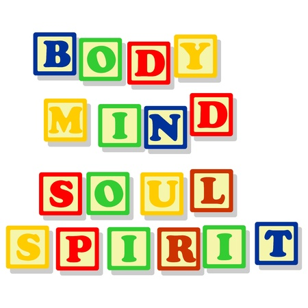 mind body soul: Conceptuals texts, body, mind, soul, spirit in different colors block, isolated on white  Illustration