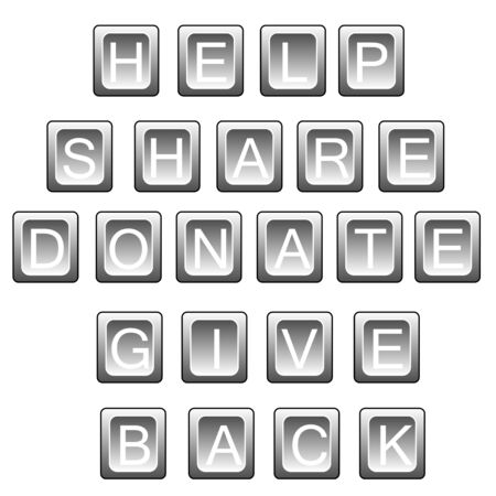 Words related to helping  help, share, donate, give back  in keyboard letters, isolated on white  Stock Vector - 17321019