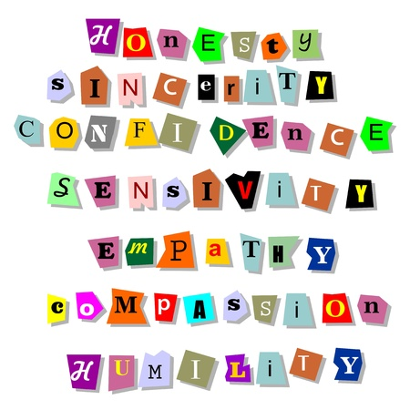 Honesty, sincerity, confidence, sensitivity, empathy,compassion,humility - collage of isolated words related to character traits in paper cuts  Stock Vector - 17321016