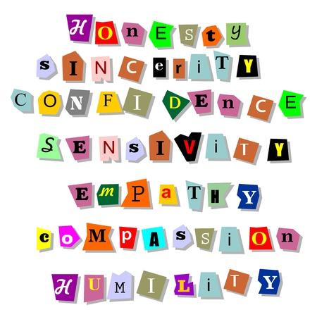 La honestidad, la sinceridad, la confianza, la sensibilidad, la empatía, la compasión, la humildad - collage de palabras aisladas relacionadas con los rasgos de carácter en recortes de papel