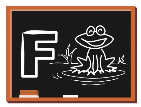 Illustration of alphabet letter F with a cute little Frog on blackboard  F is for Frog Illustration