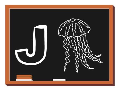 Illustration of alphabet letter J with a cute little Jellyfish isolated on blackboard  J is for Jellyfish Illusztráció
