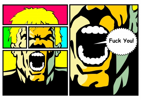 fuck: Bubble speech with text written  Comic style illustration of an angry man screaming with his mouth open