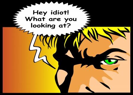 Bubble tal med text idiot skriven Redovisning av trots och ilska Komisk stil illustration av en arg man skriker