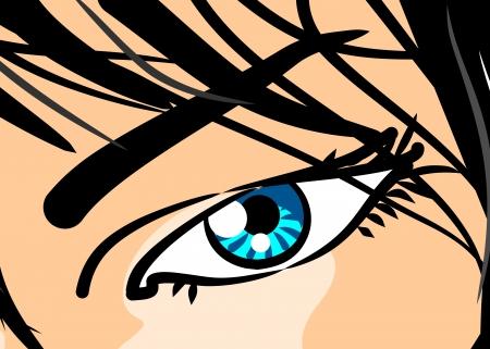Ilustración estilo cómic de un ojo de la mujer hermosa, en primer plano Vectores