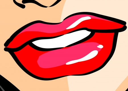 Comic style illustration of a beautiful woman mouth, in close-up