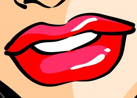 Komisk stil illustration av en vacker kvinna mun, i närbild