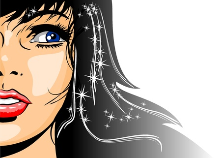 Illustration of a beautiful brunette woman with glitter and stars in her hair  Vector