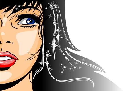 Ilustración de una mujer hermosa morena con brillo y estrellas en el pelo Vectores