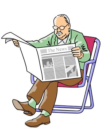 Abuelo leer las noticias del día en el periódico, sentado en una silla de playa