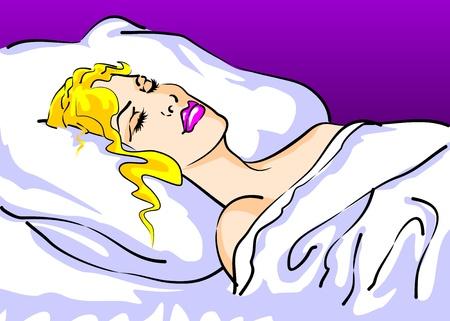 Conceptuel image Woman, détente et beauté se reposant paisiblement endormi