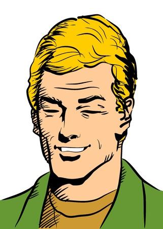 Gros plan sur la tête d'un homme avec des vêtements décontractés Portrait d'une jeune blonde souriante