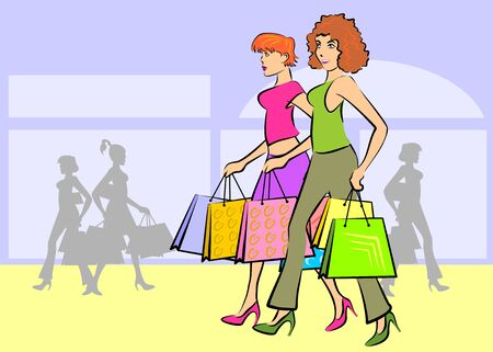 Women at the mall shopping carrying bags with gifts. Stock Vector - 18631330