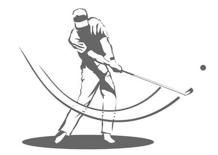 Ilustración de un hombre golpeando una pelota de golf Vectores