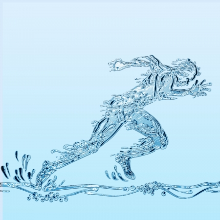 Creative illustration of an athlete simulating water.