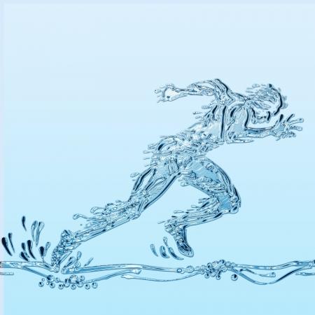 Ilustración creativa de un atleta simulando agua.