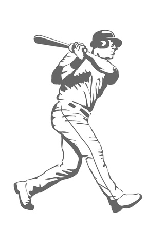 Illustration of a baseball player swinging the bat Vector