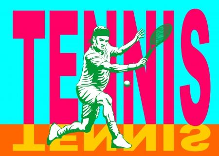 Ilustración conceptual sobre aviso de tenis para el campeonato de tenis aficionado