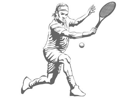 Illustration av en man spela tennis