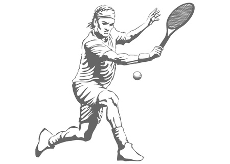 Illustration of a man playing tennis  Vector