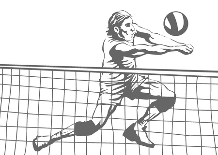 Illustration of a man playing volleyball  Illustration