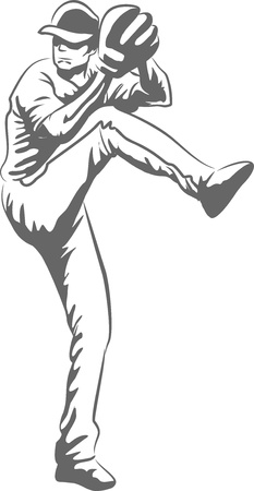 Illustration of a baseball player throwing a ball Vector
