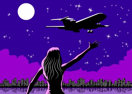 farewell: Woman say goodbye to the airplane  Conceptual illustration say goodbye of family and friends  Farewell to a boyfriend or husband  Illustration