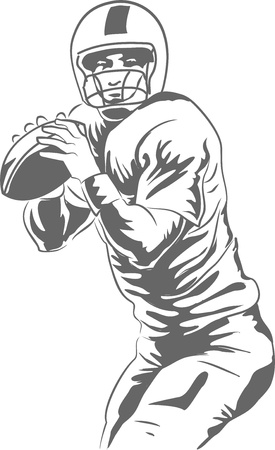 Ilustración vectorial de un mariscal de campo de fútbol a punto de lanzar un pase ganador