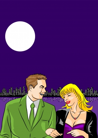 promenade: Conceptual illustration of a couple in love walking along the promenade under the moonlight