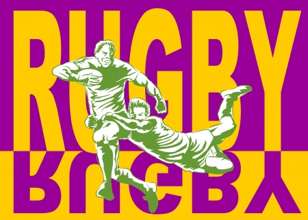 tackling: Conceptual illustration about Rugby. Poster for Rugby championship.