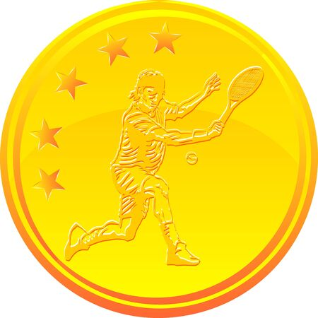 tennisball: Gold medal with a tennis player and 5 stars Illustration