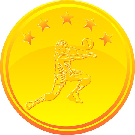 Gold medal with a Volleyball player under 5 stars Stock Vector - 18875705