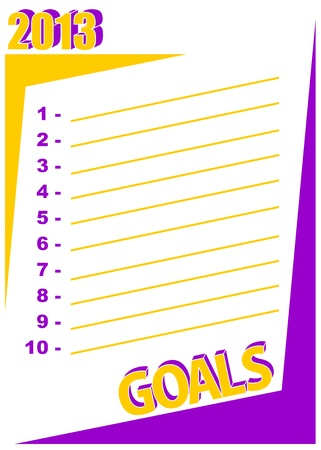 List of 10 personal goals to accomplish in the year  2013 goals - New Year resolution concept Stock Vector - 19217728