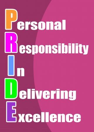 PRIDE responsabilidad personal en la entrega de la excelencia concepto presentado en un cartel Vectores