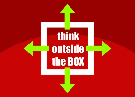 outside box: Think outside the box - concept of different or unconventional thinking sketched presented in a poster