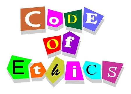 �thique: Code de d�ontologie des mots dans des d�coupes de collage isol� sur blanc