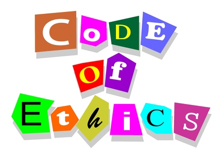 cutouts: Code of ethics words in collage cutouts isolated on white