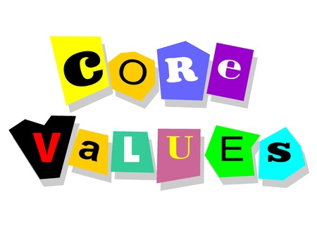 Ethics concept - core values, words in collage cutouts isolated on white  Çizim