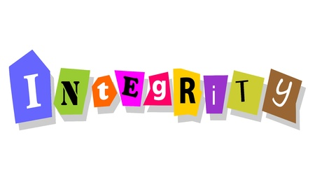 cutouts: Integrity word in collage cutouts isolated on white  Illustration