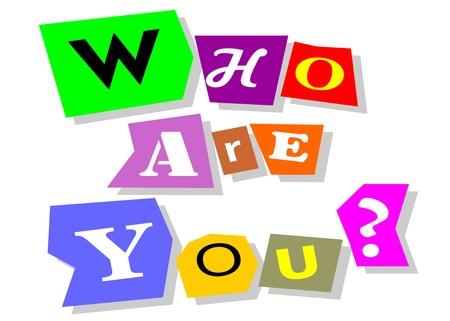 Vem är du ifråga ord i collage utskärningar isolerade på vit
