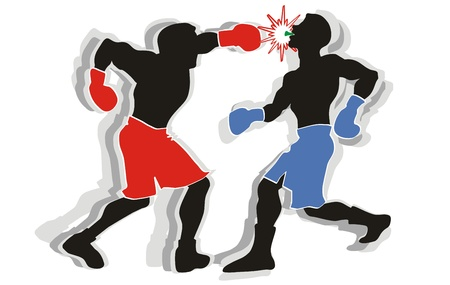 Two boxers go toe to toe in the ring. Stock Vector - 21458237