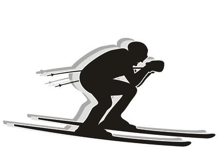 downhill skiing: Black and white silhouette of a skier racing career at full speed.