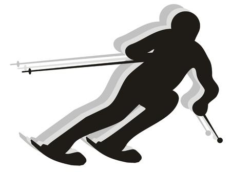 Esquiador competir en una carrera