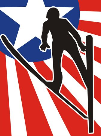 Skier American flying over the  flag. Symbol of patriotic pride in the winter games. Vector