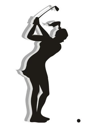 Mujer golfista listo para golpear la bola Vectores