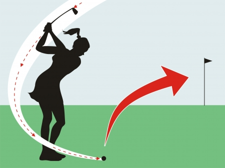 Silhouette of a female golfer, showing how to hit the golf ball