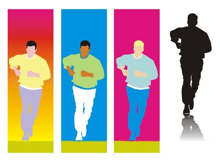 Set of silhouettes of a man running with different colored backgrounds or  Stock Vector - 21458229