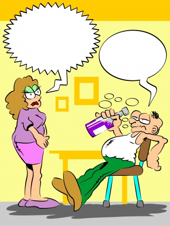 The wife comes home and finds her husband drunk drinking the bottle. The scene is ready for you to place the dialogues in the speech bubbles