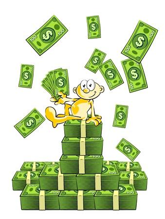 mucho dinero: Ilustraci�n conceptual con una lluvia de dinero. Hombre de �xito que se gana mucho dinero. Sentado en una fortuna de d�lares.