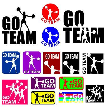 Silhouettes illustrationer av en sport lag cheerleader i olika färger Illustration